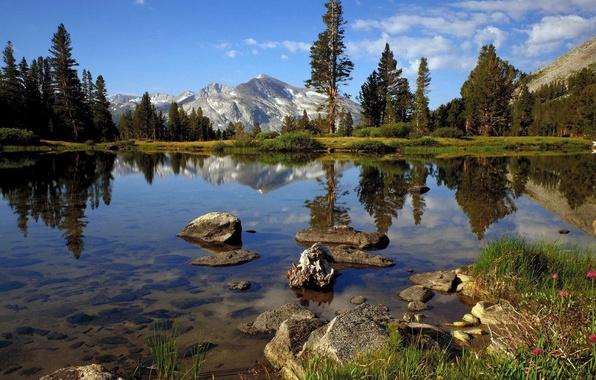 Картинка облака, деревья, горы, озеро, камни, свежий воздух, прозрачная вода