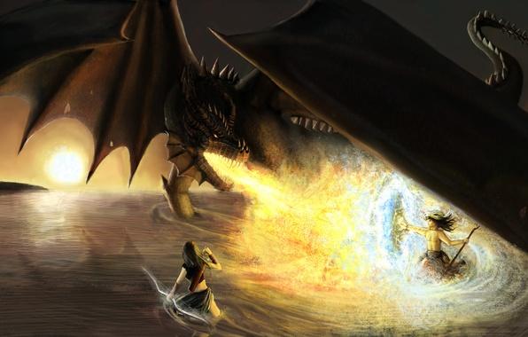 Картинка оружие, фантастика, огонь, дракон, крылья, меч, арт, щит, воины, огнедышащий