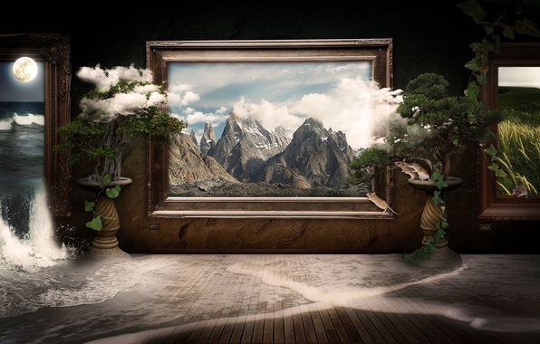 Картинка облака, пейзаж, горы, природа, комната, коллаж, луна, рама, водопад, картина, рамка, галерея, картины, мыши