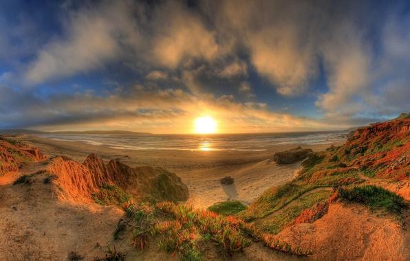 Картинка море, закат, берег, панорама
