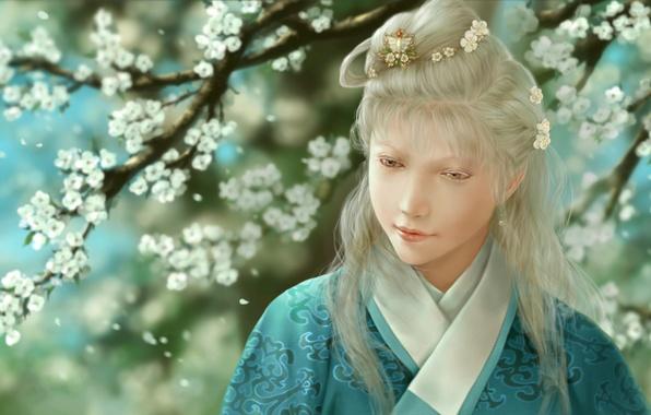 Картинка девушка, цветы, арт, кимоно, заколка, альбинос, dtjun