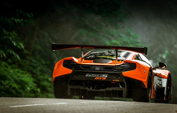 Картинка McLaren, Авто, Оранжевый, GT3, Суперкар, Спорткар, Вид сзади, 650S, Антикрыло