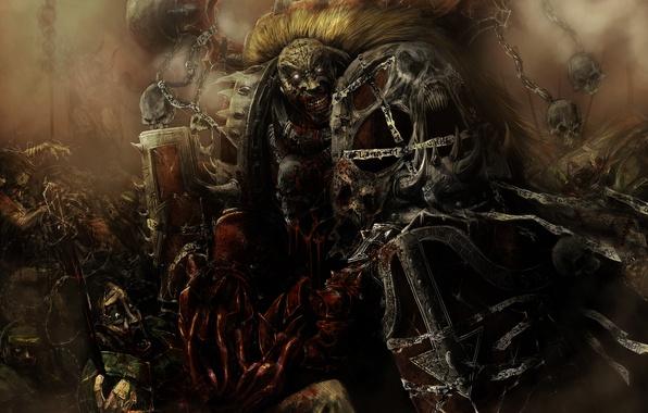 Картинка смерть, кровь, доспехи, черепа, хаос, warhammer, безумие, Word Bearers, несущие слово, 40 тысяч, 40k, имперская …
