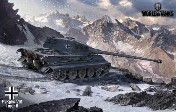 Картинка зима, снег, горы, Германия, арт, танк, танки, WoT, тигр 2, World of Tanks, Tiger 2