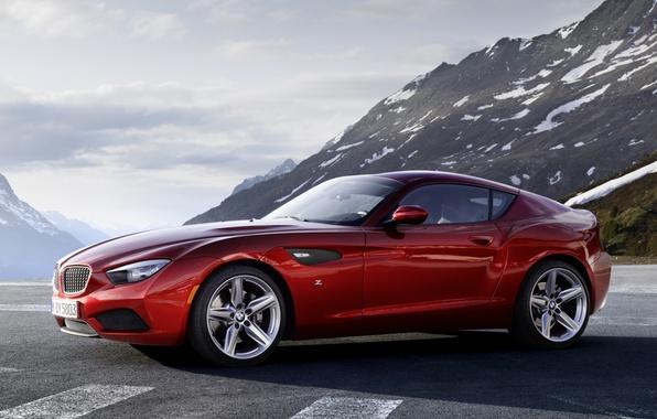 Картинка небо, горы, красный, купе, BMW, БМВ, Coupe, передок, Zagato, Загато