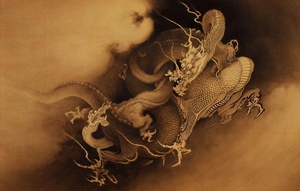 Картинка усы, фон, рисунок, драконы, китайские