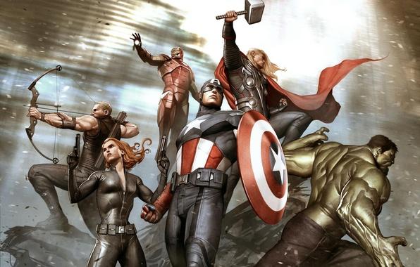 Картинка Hulk, Iron Man, Marvel, Captain America, Thor, concept art, Black Widow, hawkeye, Мстители, the Avengers