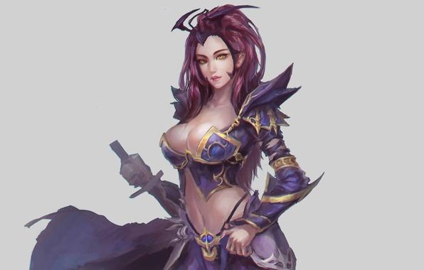 Картинка грудь, взгляд, оружие, фон, фантастика, меч, доспехи, арт, броня