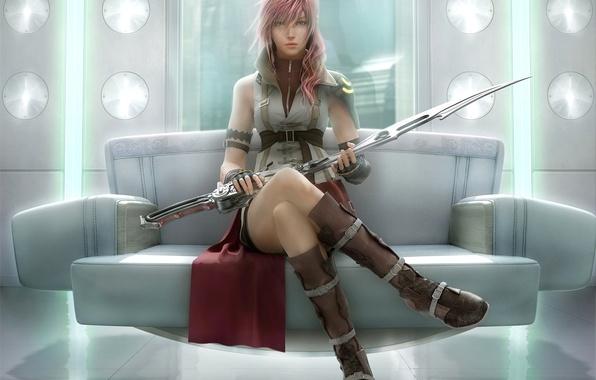 Картинка девушка, меч, воин, арт, final fantasy xiii