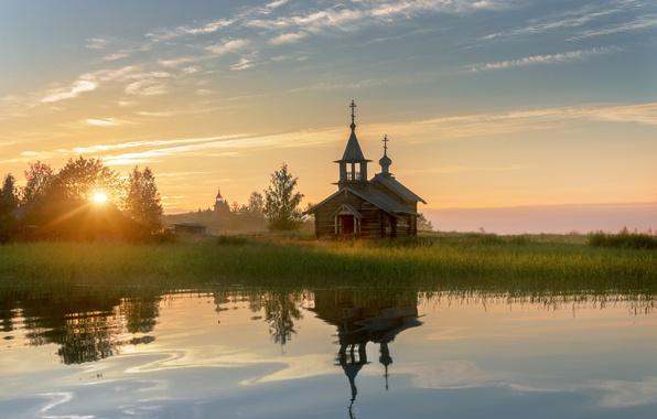 Картинка лето, солнце, свет, рассвет, утро, церковь, карелия, кижи