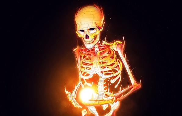 Картинка огонь, пламя, череп, минимализм, скелет