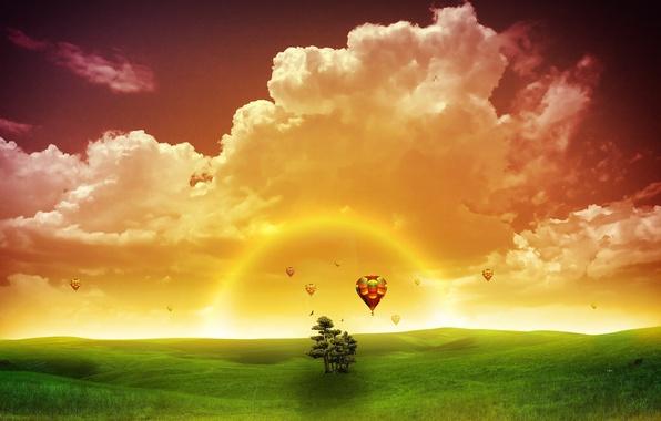 Картинка зелень, солнце, закат, природа, фантастика