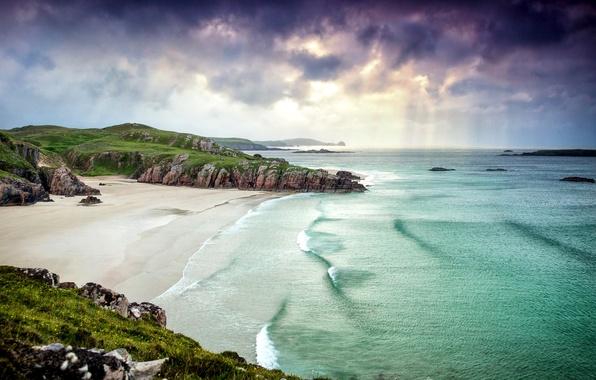 Картинка песок, море, пляж, облака, пейзаж, природа, берег, побережье, Шотландия, утес, Scotland, Great Britain, Alba