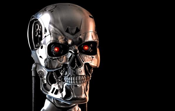 Картинка лицо, череп, механизм, робот, терминатор, скелет, черный фон, красные глаза, terminator