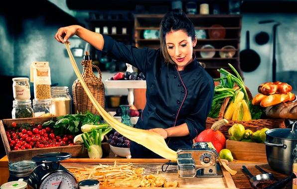 Картинка повар, продукты, готовка, паста