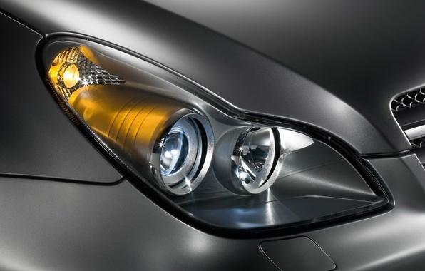 Фото обои машина, Mercedes-Benz, фара, CLS, C219, металик