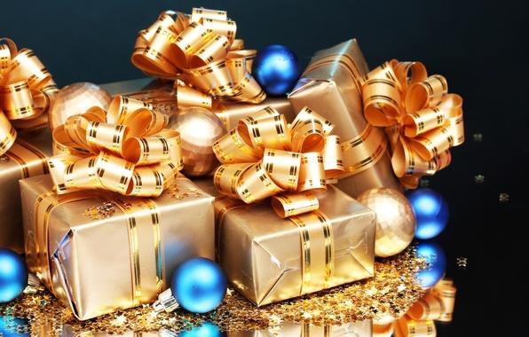 Картинка отражение, фон, праздник, подарок, шары, игрушки, блеск, новый год, подарки, бантик, звездочки, happy new year, …