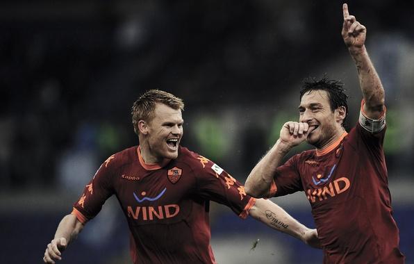Картинка футбол, football, тотти, Riise, Totti, AS Roma
