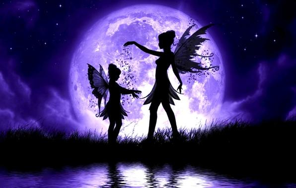 Картинка небо, трава, вода, девушка, звезды, облака, ночь, озеро, луна, ребенок, крылья, феи