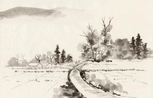 Картинка деревья, мост, река, берег, Япония, деревня, Живопись