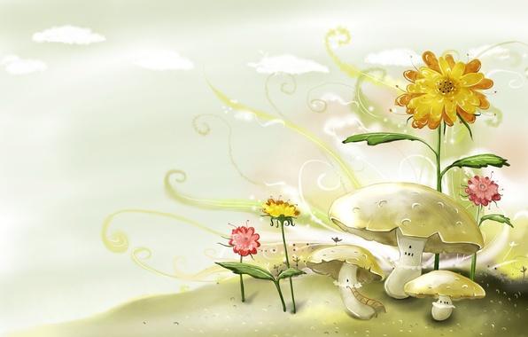 Картинка цветы, рисунок, Грибы