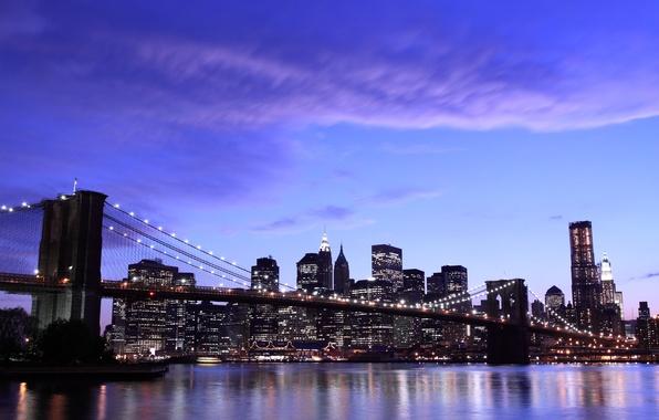 Картинка небо, облака, city, город, огни, вечер, нью-йорк, new york, бруклинский мост, brooklyn bridge