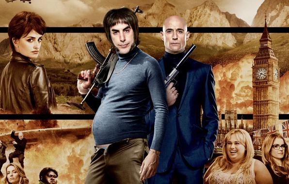 Картинка пистолет, оружие, фон, Англия, башня, автомат, боевик, постер, Penelope Cruz, глушитель, калашников, Пенелопа Крус, комедия, …