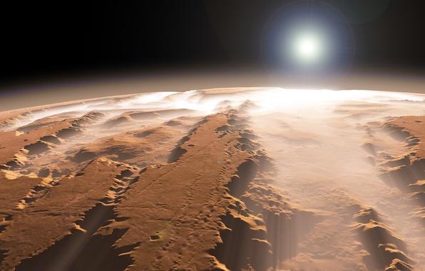 Марс каньон солнце туман планета