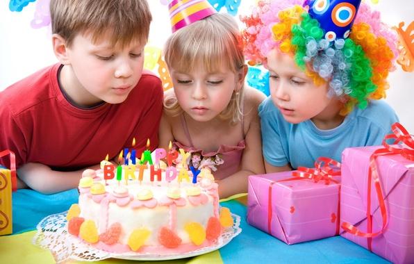 Картинка дети, розовый, день рождения, подарок, ребенок, мальчик, девочка, лента, торт, ленточка, праздники