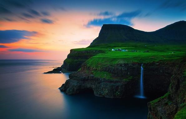 Картинка небо, облака, закат, горы, скалы, водопад, вечер, деревушка, на краю, Атлантический океан, Фарерские острова, Королевство ...