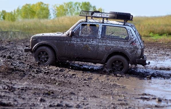 Картинка грязь, джип, внедорожник, offroad, нива, ваз-21213