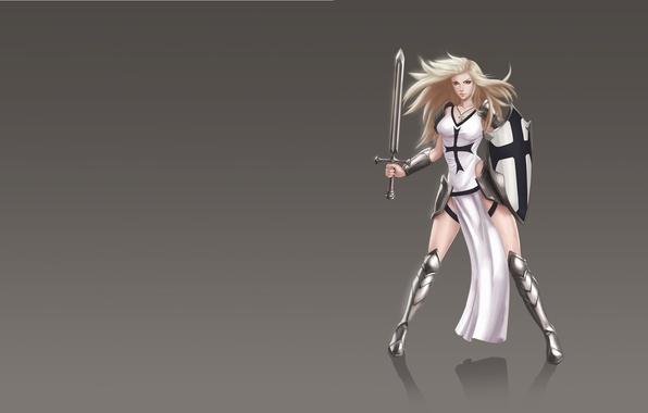 Картинка девушка, оружие, меч, арт, fantasy, щит, рыцарь