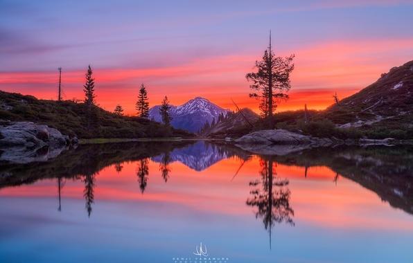 Картинка рассвет, гора, photographer, водоём, California, Mount Shasta, Kenji Yamamura, Castle Lake