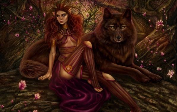 Картинка лес, девушка, деревья, цветы, волк, хищник, демон, арт, рога, рыжая, демоница