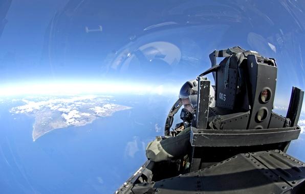 Картинка небо, кабина, самолёт, лётчик
