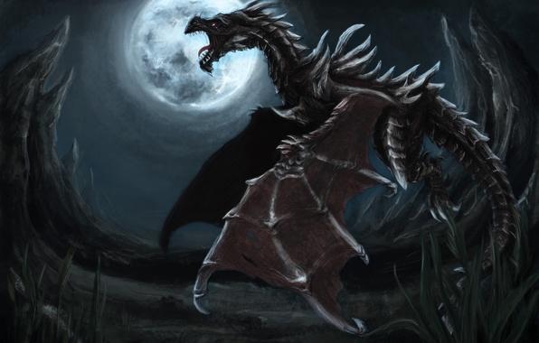 Картинка полет, ночь, скалы, луна, дракон, пасть
