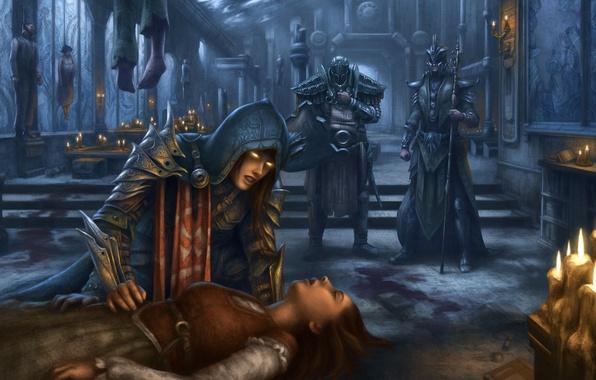 Картинка девушка, смерть, замок, свечи, арт, трупы, Diablo III, Reaper of Souls, cathedral Ephemera