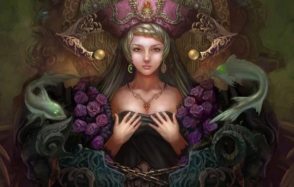 Картинка девушка, украшения, рыбы, розы, руки, фэнтези, арт, цепь, Yuxuan Li