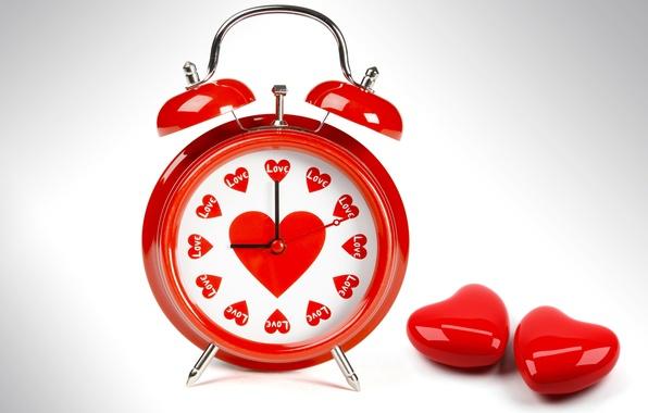 Картинка белый, цвета, любовь, красный, стрелки, часы, сердца, будильник, сердечки, циферблат