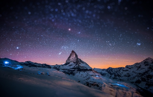 Картинка звезды, снег, горы, ночь, скала, блики, скалы, гора, Альпы, вершина, пик, tilt-shift, Маттерхорн