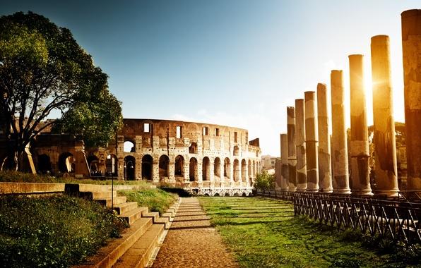 Картинка солнце, свет, Рим, Колизей, Италия, колонны, ступеньки, архитектура, Italy, Colosseum, Rome, амфитеатр