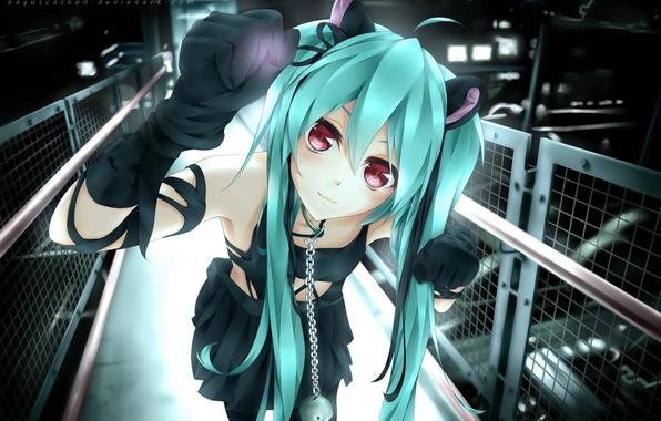 Картинка девушка, улыбка, забор, аниме, арт, цепь, ошейник, vocaloid, hatsune miku, колокольчик, baguscasbon, dmith