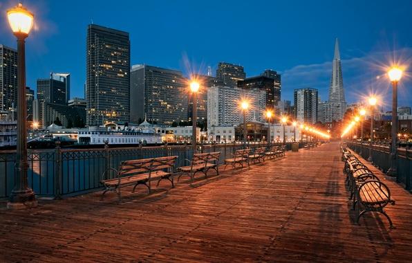 Фото обои город, фонари, лавки, прогулочный мостик