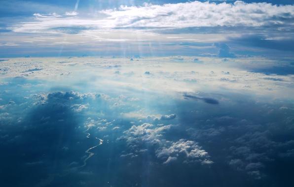 Картинка небо, облака, свет, пейзаж, синева, обои, небеса, рай, light, красивое, sky, красивые, blue, небосвод, beautiful, …