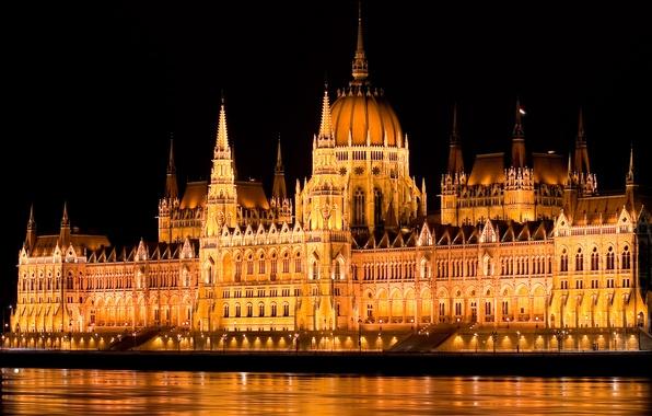 Картинка вода, свет, ночь, огни, река, подсветка, столица, парламент, Венгрия, Будапешт, Дунай