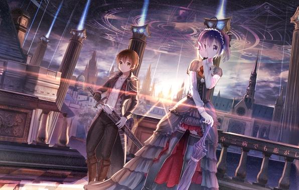 Картинка небо, девушка, звезды, город, оружие, дома, меч, аниме, арт, парень, red flowers, takanashi rikka, chuunibyou …
