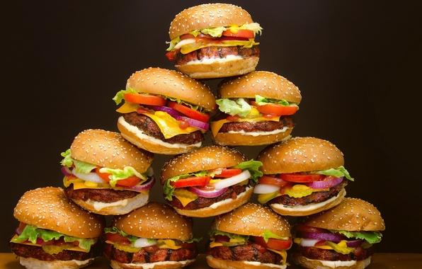 Картинка еда, Гамбургер, хлеб, пирамида, мясо, овощи, много, булка