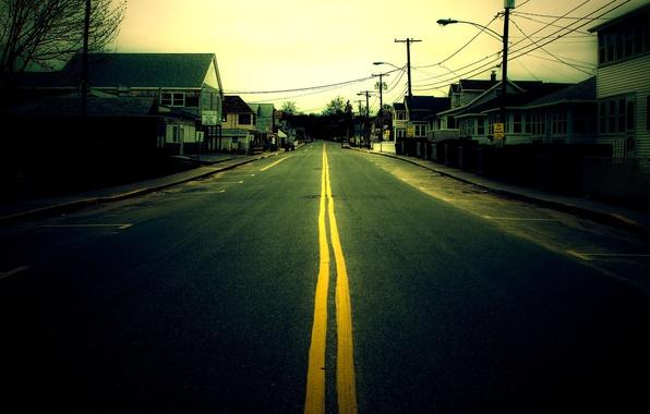Картинка деревья, улица, дома, Дорога, тротуары