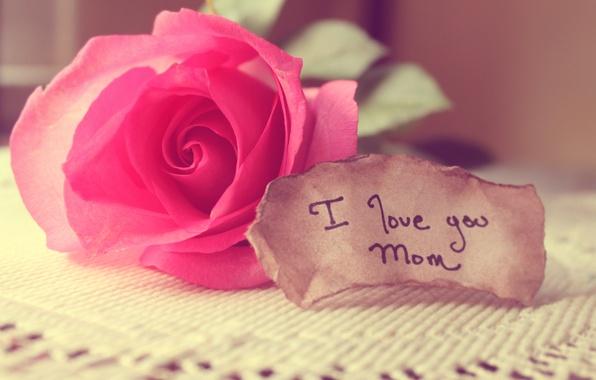 Картинка любовь, роза, записка, слова, мама, скатерть