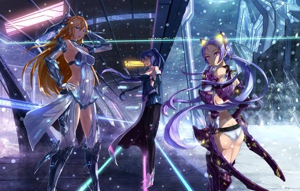 Картинка снег, оружие, девушки, аниме